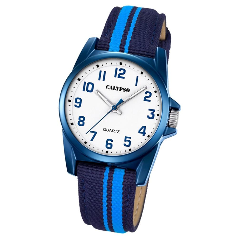 Calypso Kinder-Armbanduhr Junior analog Quarz Leder Textil blau UK5707/6