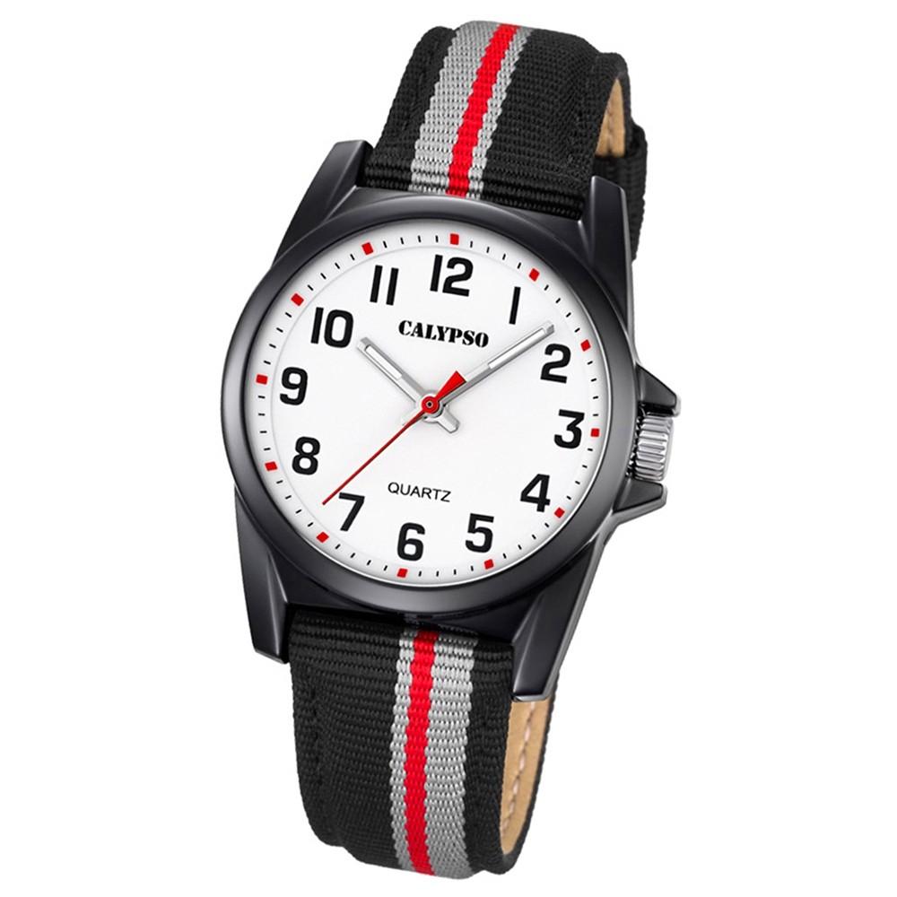 Calypso Kinder-Armbanduhr Junior analog Quarz Leder Textil schwarz grau UK5707/8