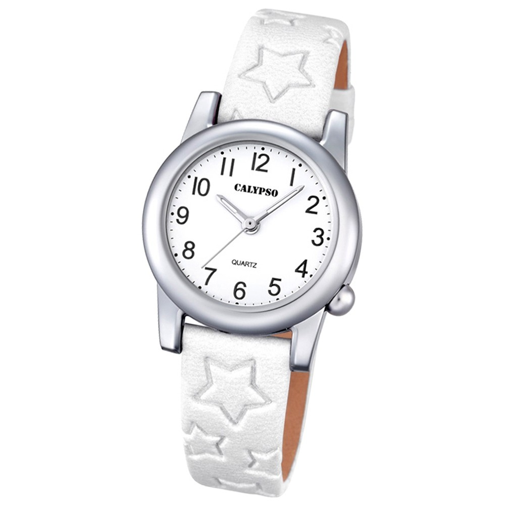 Calypso Kinder-Uhr Sterne Junior Collection analog Quarz Leder weiß UK5708/1