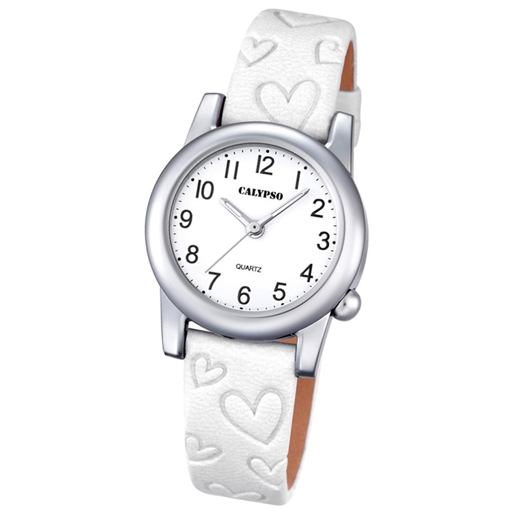 Calypso Kinder-Uhr Herzen Junior Collection analog Quarz Leder weiß UK5709/1