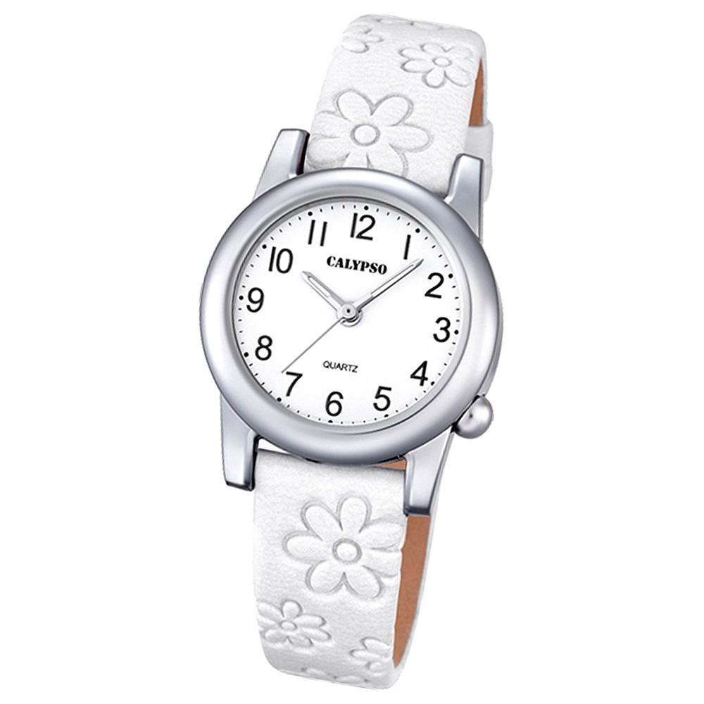 Calypso Kinder-Uhr Blume Junior Collection analog Quarz Leder weiß UK5710/1