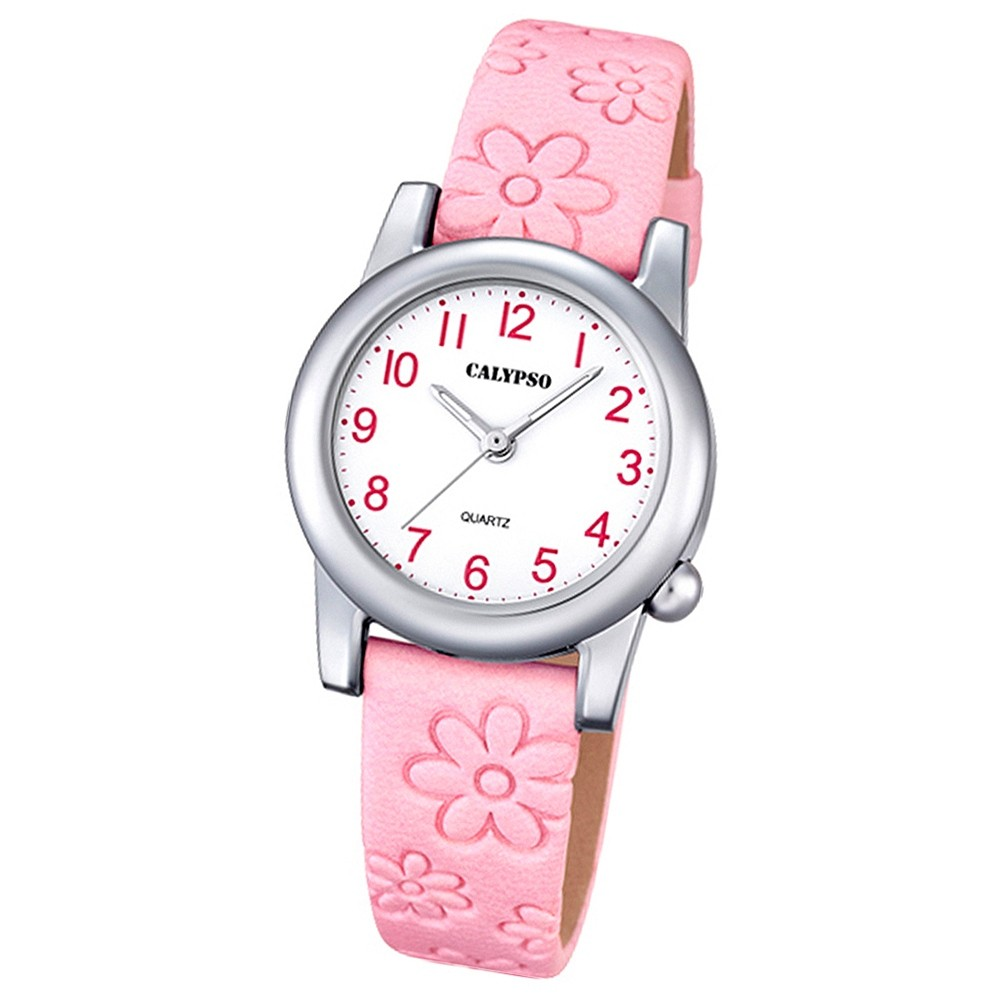 Calypso Kinder-Uhr Blume Junior Collection analog Quarz Leder rosa UK5710/2