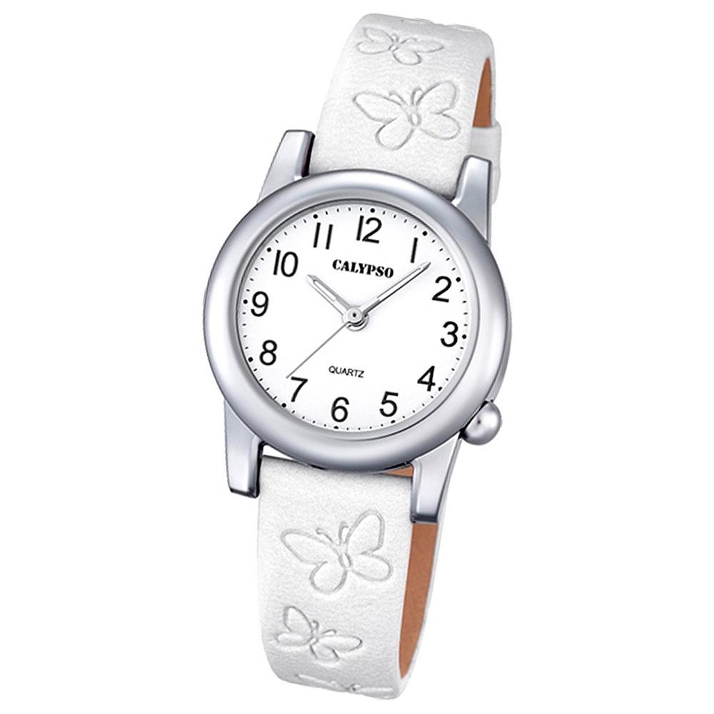 Calypso Kinder-Uhr Schmetterling Junior analog Quarz Leder weiß UK5711/1