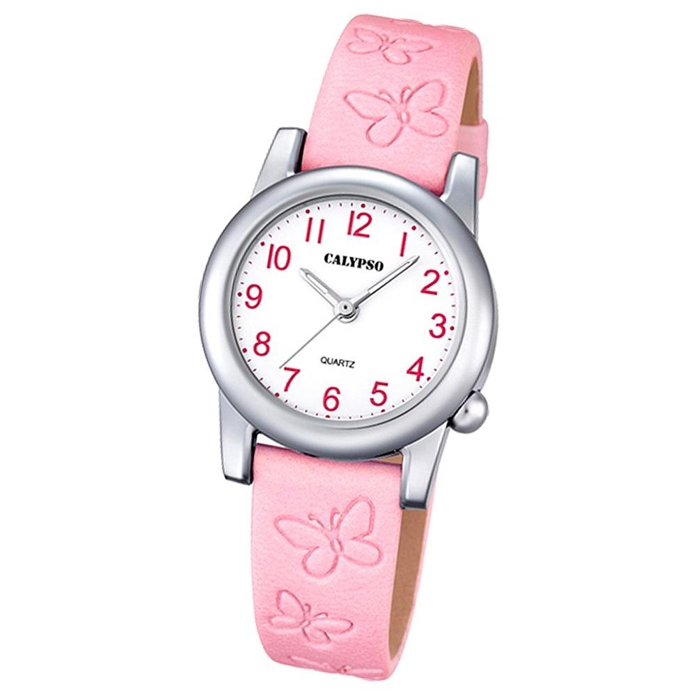 Calypso Kinder-Uhr Schmetterling Junior analog Quarz Leder rosa UK5711/2