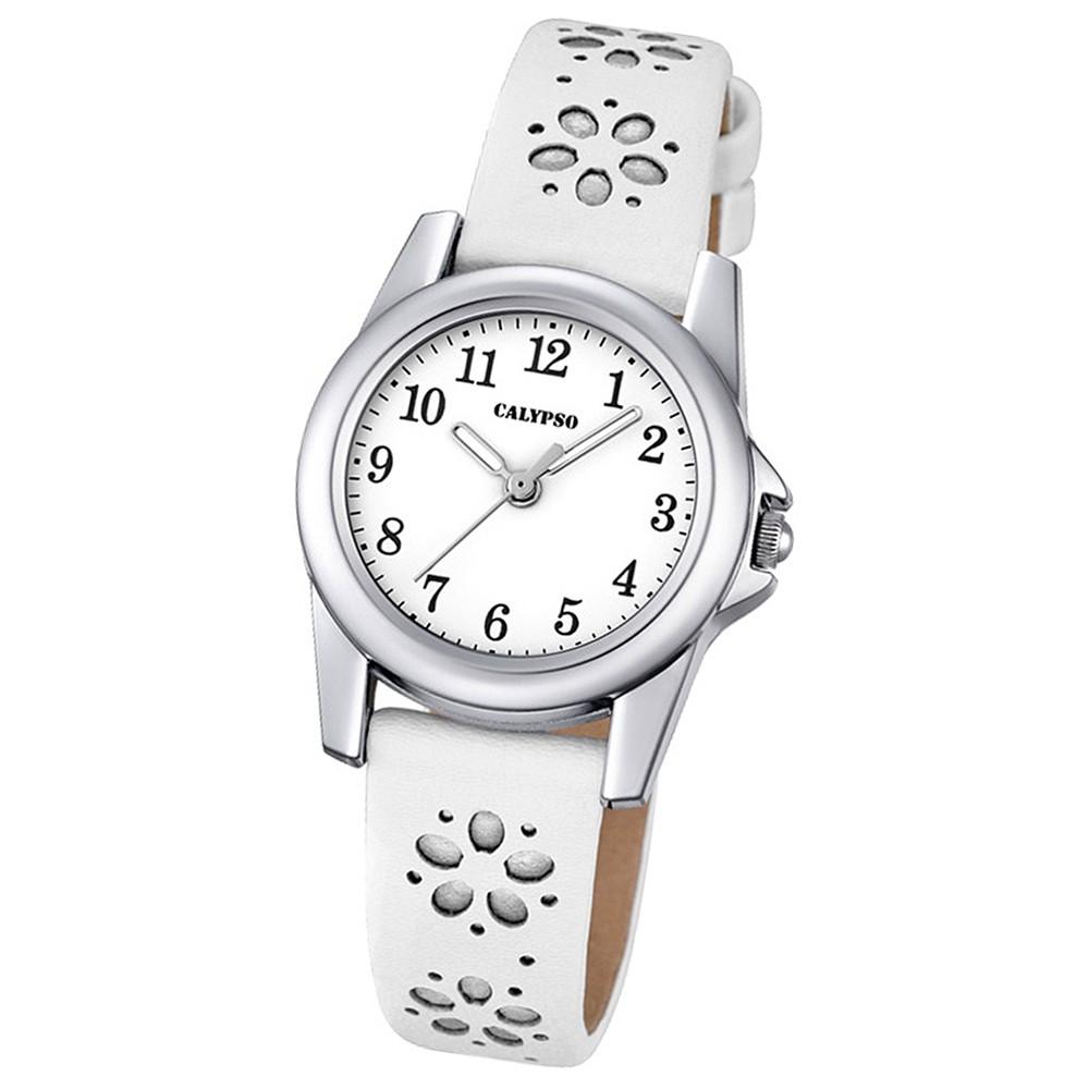 Calypso Kinder-Uhr Blümchen Junior Collection analog Quarz Leder silber UK5712/1