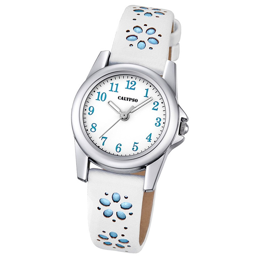 Calypso Kinder-Uhr Blümchen Junior Collection analog Quarz Leder blau UK5712/4
