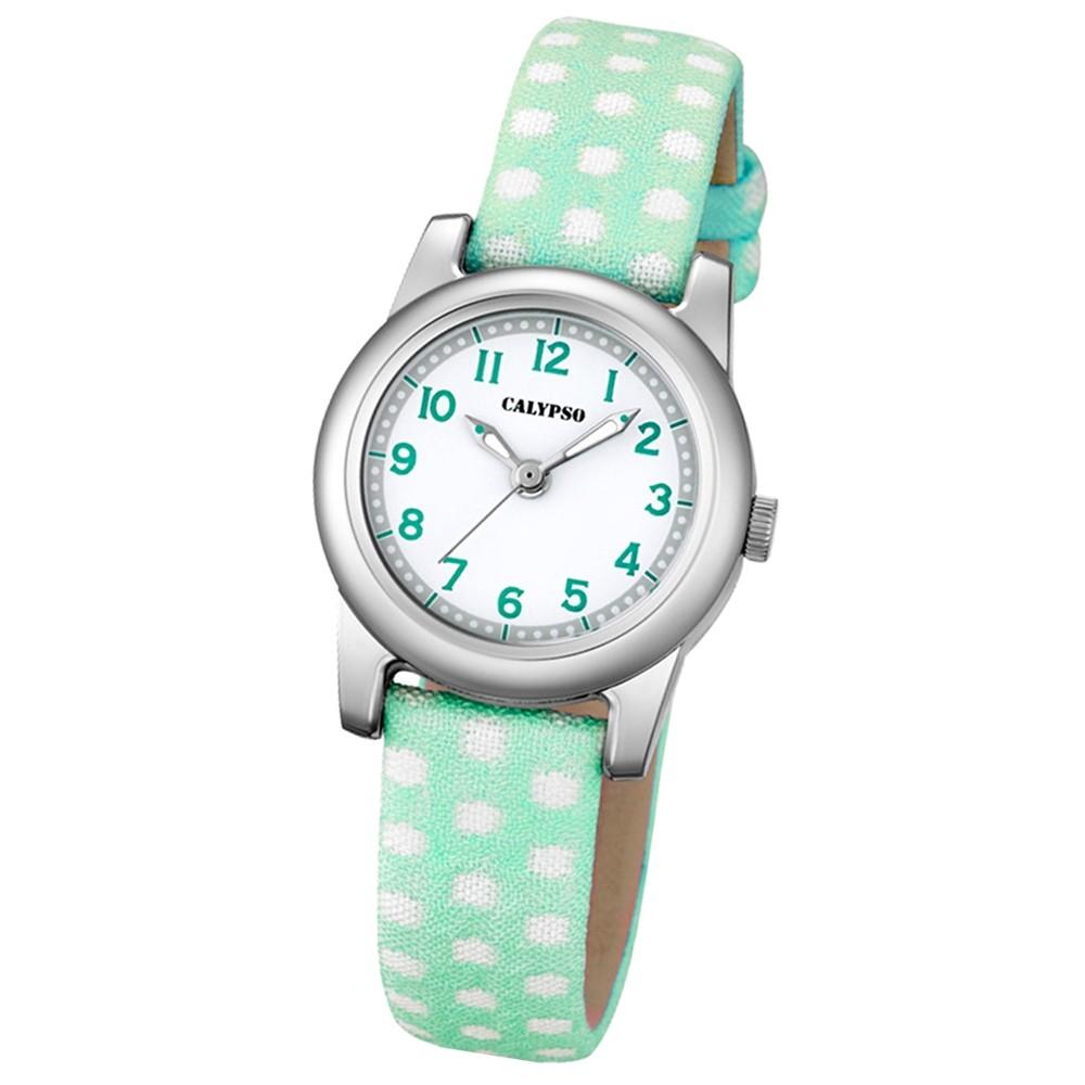 Calypso Kinder-Uhr Dots Punkte Junior analog Quarz Leder grün Jugenduhr UK5713/3