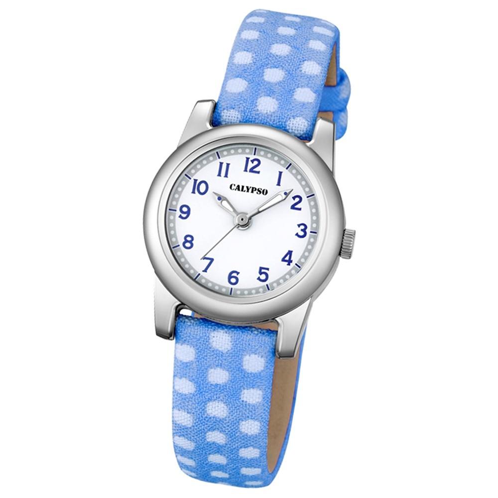 Calypso Kinder-Uhr Dots Punkte Junior analog Quarz Leder blau Jugenduhr UK5713/4