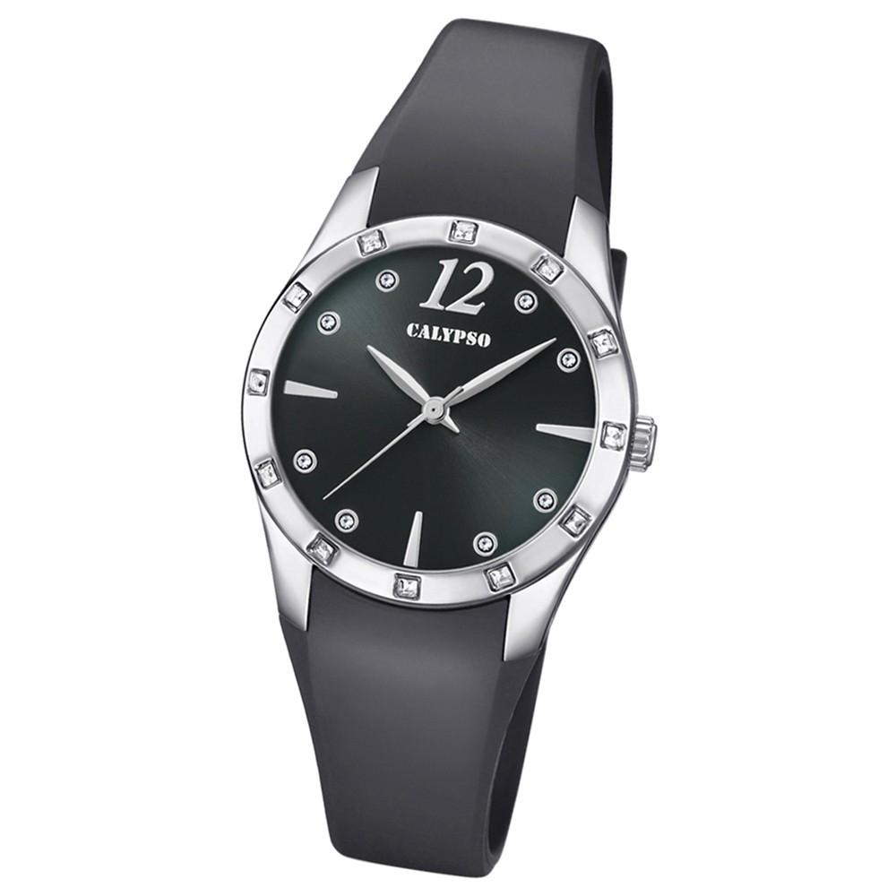 Calypso Armbanduhr Damen Trendy K5714/4 Quarzuhr PU schwarz UK5714/4