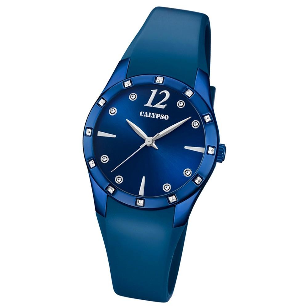 Calypso Armbanduhr Damen Trendy K5714/6 Quarzuhr PU blau UK5714/6