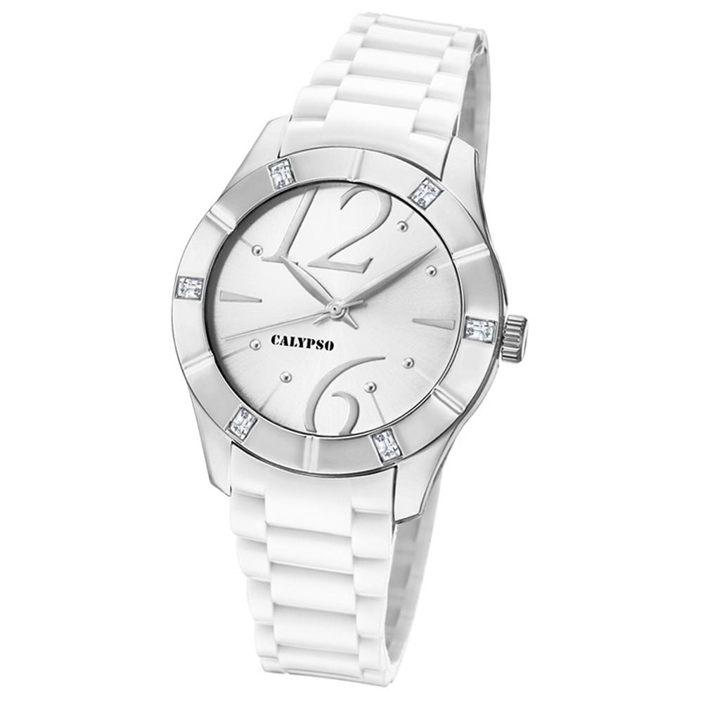 Calypso Armbanduhr Damen Trendy K5715/1 Quarzuhr PU weiß UK5715/1