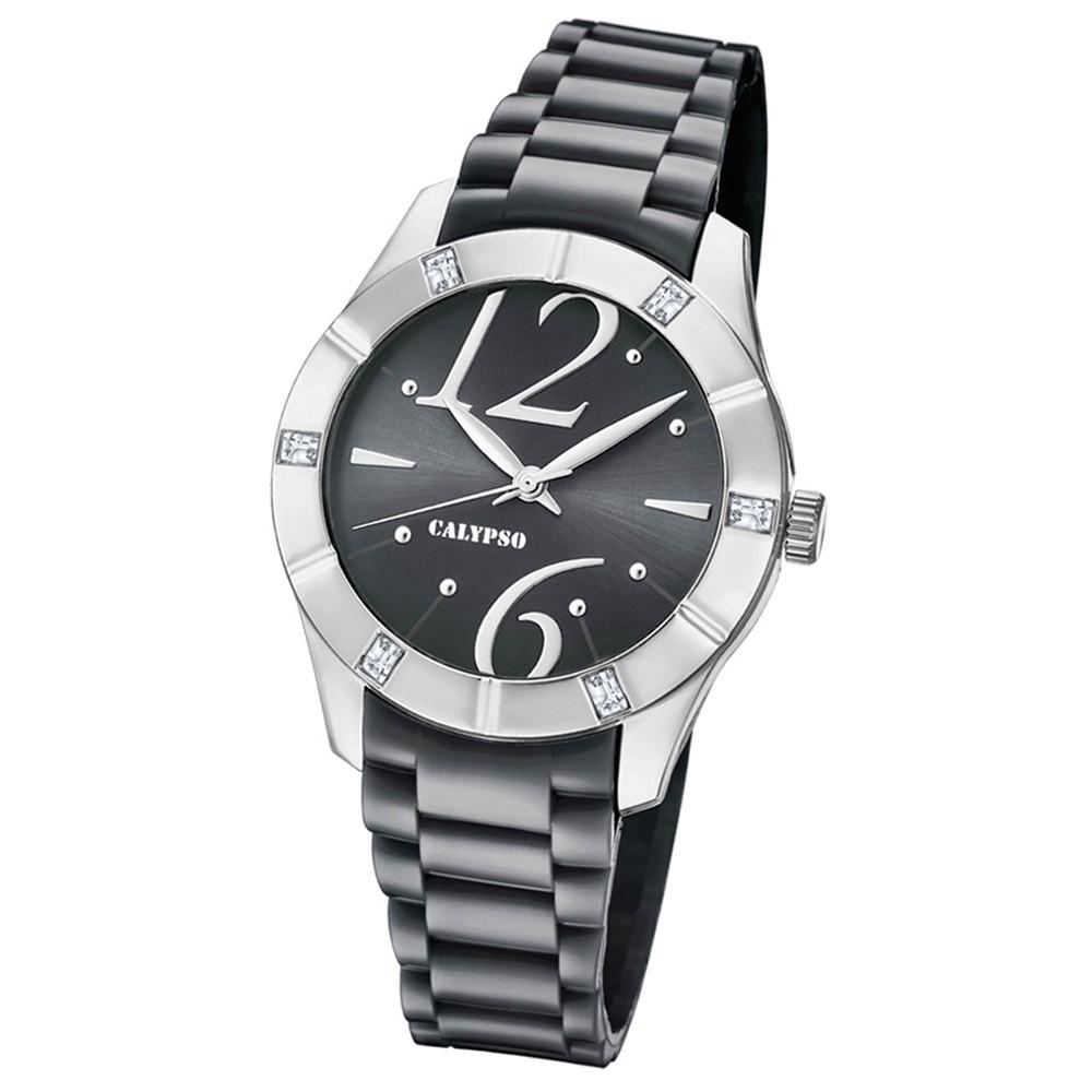 Calypso Armbanduhr Damen Trendy K5715/4 Quarzuhr PU grau anthrazit UK5715/4