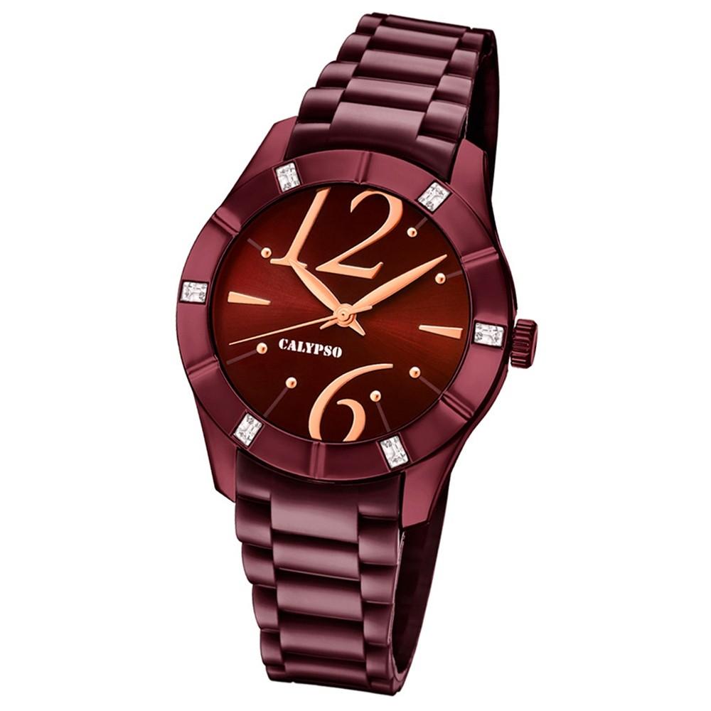Calypso Armbanduhr Damen Trendy K5715/5 Quarzuhr PU aubergine lila UK5715/5