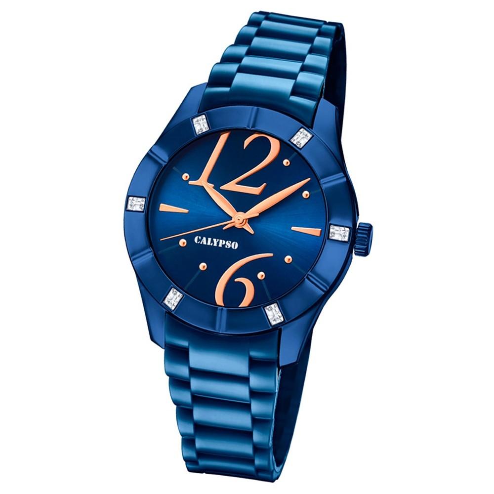 Calypso Armbanduhr Damen Trendy K5715/6 Quarzuhr PU blau UK5715/6