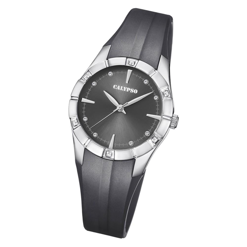 Calypso Damen Armbanduhr Trendy K5716/2 Quarz-Uhr PU schwarz UK5716/2