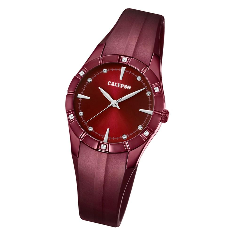 Calypso Damen Armbanduhr Trendy K5716/7 Quarz-Uhr PU aubergine lila UK5716/7