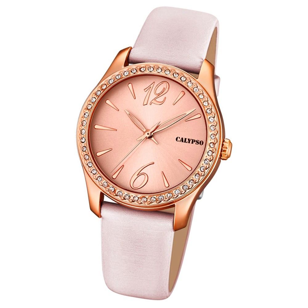 Calypso Damen-Armbanduhr Trendy analog Quarz Leder Textil rosé UK5717/5