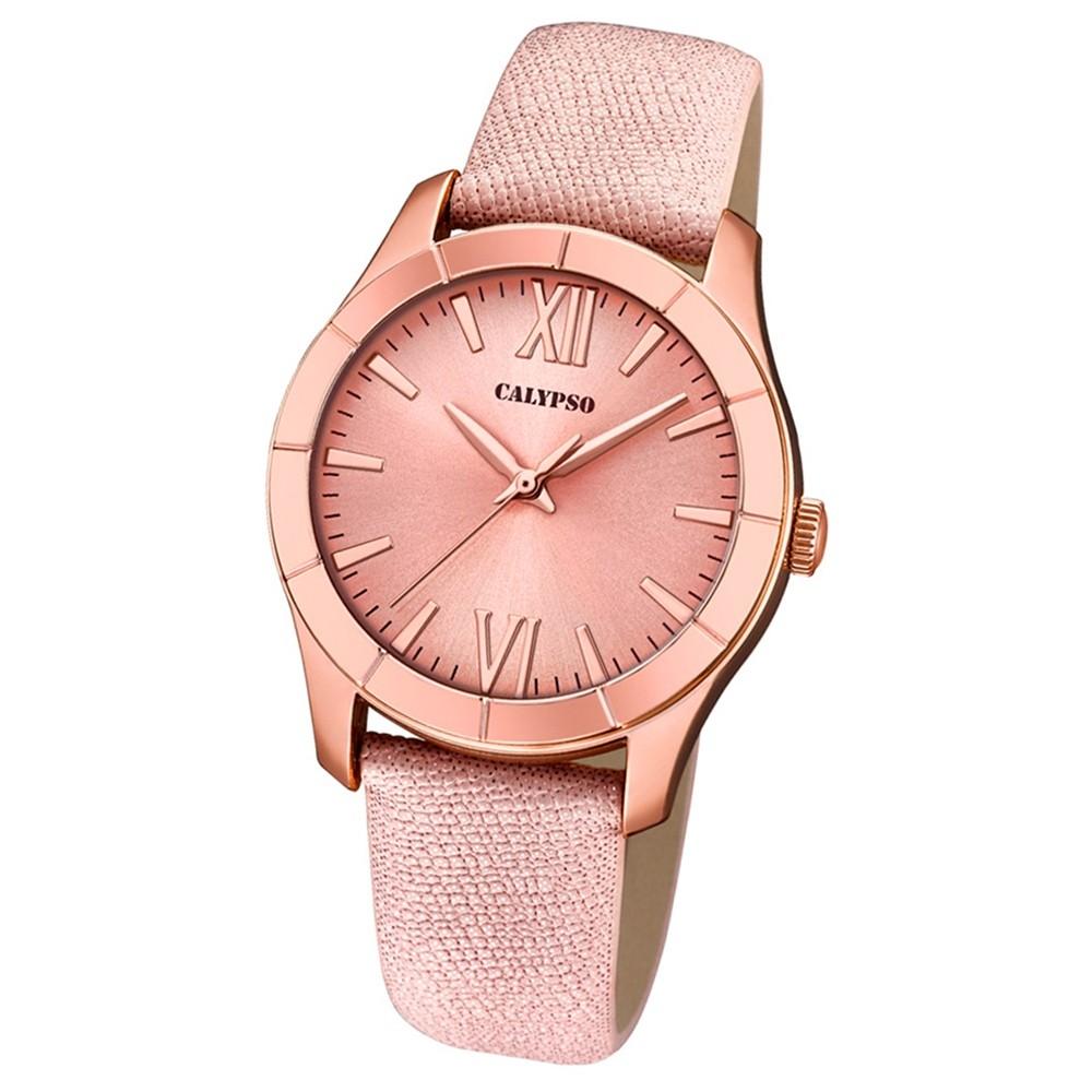 Calypso Damen-Armbanduhr Trendy analog Quarz Leder Textil rosé UK5718/2