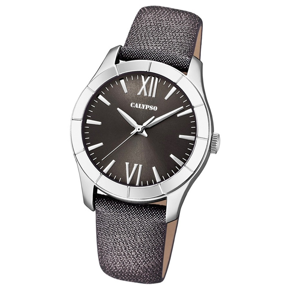 Calypso Damen-Armbanduhr Trendy analog Quarz Leder Textil schwarz UK5718/3