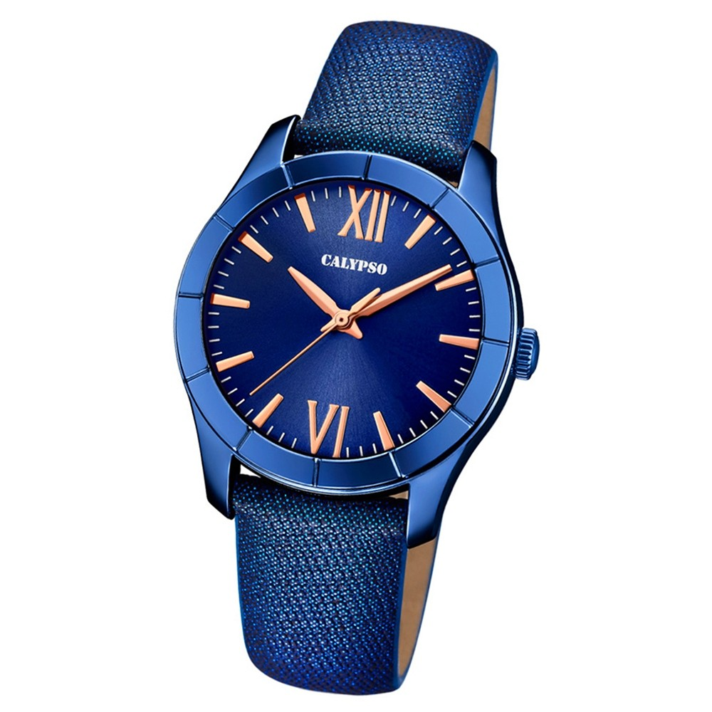 Calypso Damen-Armbanduhr Trendy analog Quarz Leder Textil blau UK5718/4