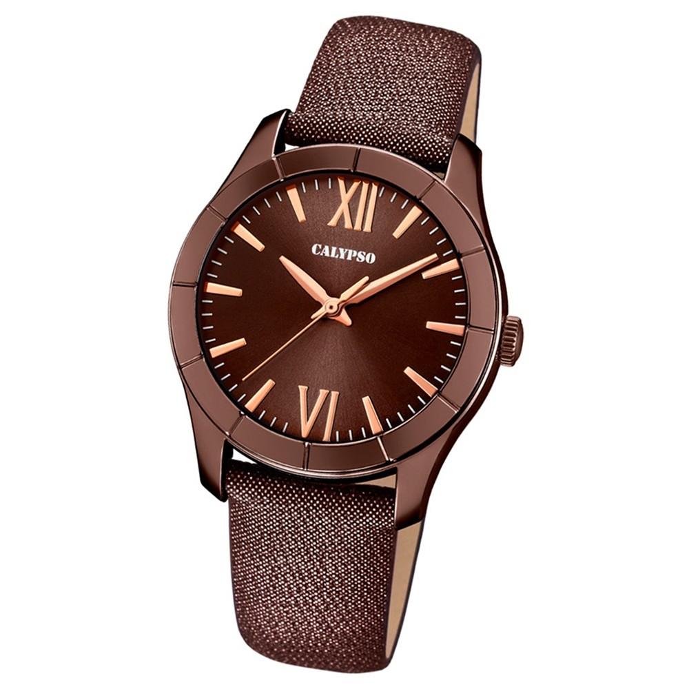 Calypso Damen-Armbanduhr Trendy analog Quarz Leder Textil braun UK5718/6