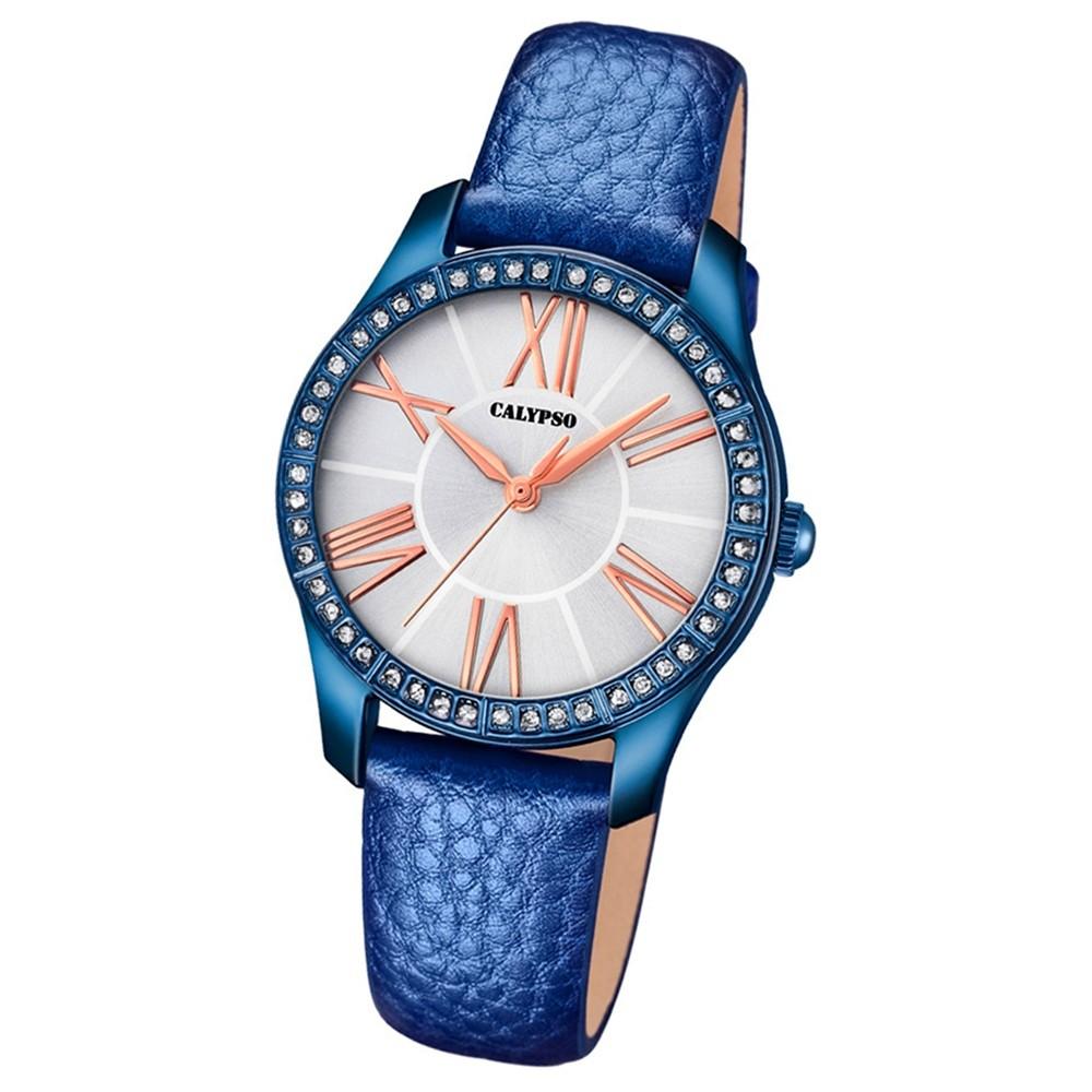 Calypso Damen-Armbanduhr Trendy analog Quarz Leder blau UK5719/2