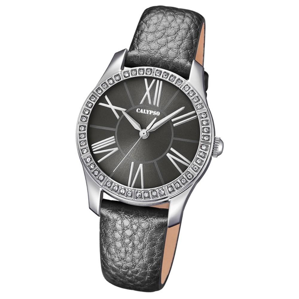 Calypso Damen-Armbanduhr Trendy analog Quarz Leder grau UK5719/4