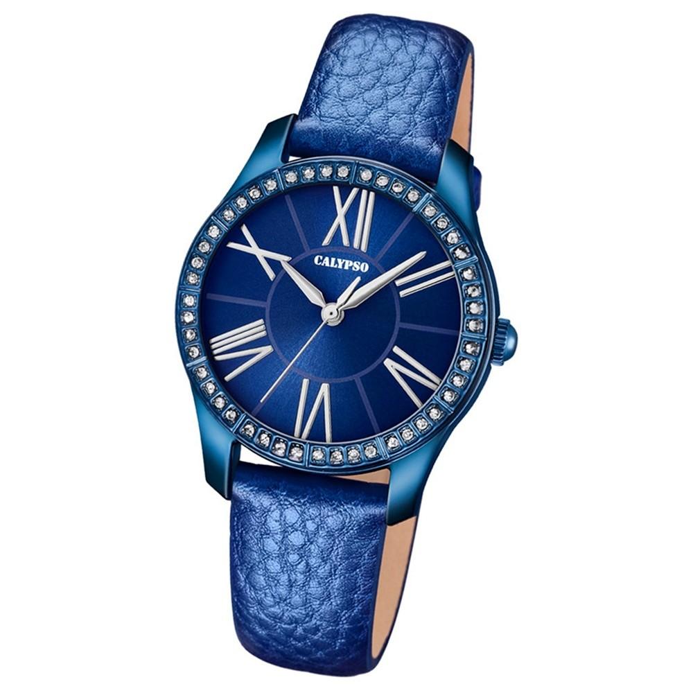 Calypso Damen-Armbanduhr Trendy analog Quarz Leder blau UK5719/5