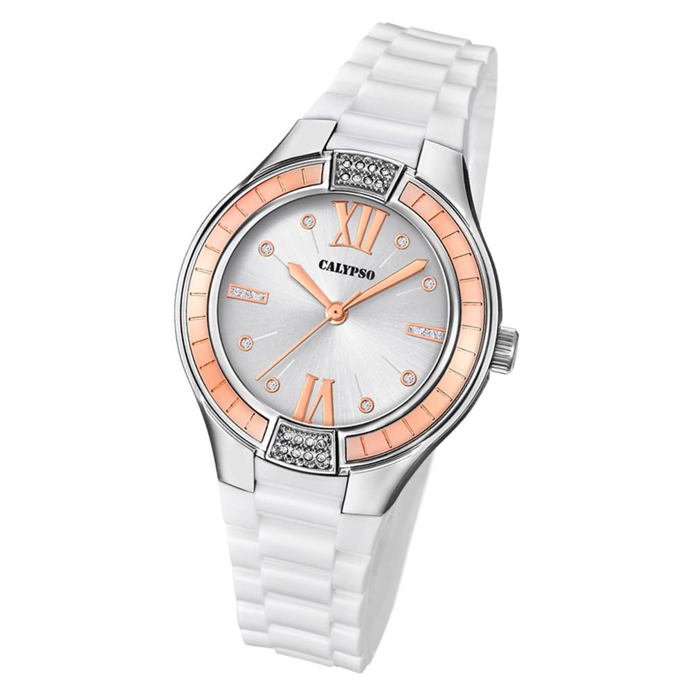 Calypso Damen Armbanduhr Trendy K5720/1 Quarz-Uhr PU weiß UK5720/1