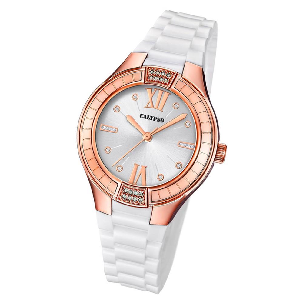 Calypso Damen Armbanduhr Trendy K5720/2 Quarz-Uhr PU weiß UK5720/2