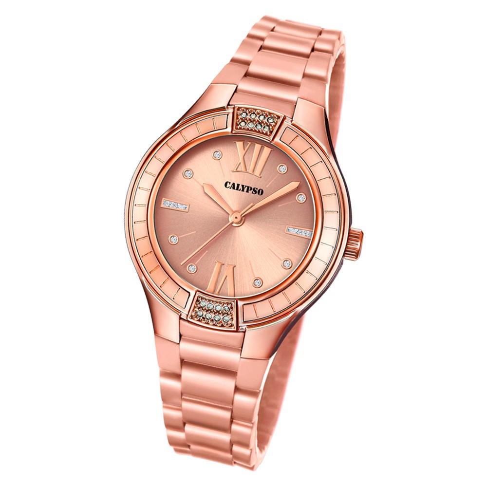 Calypso Damen Armbanduhr Trendy K5720/3 Quarz-Uhr PU roségold UK5720/3