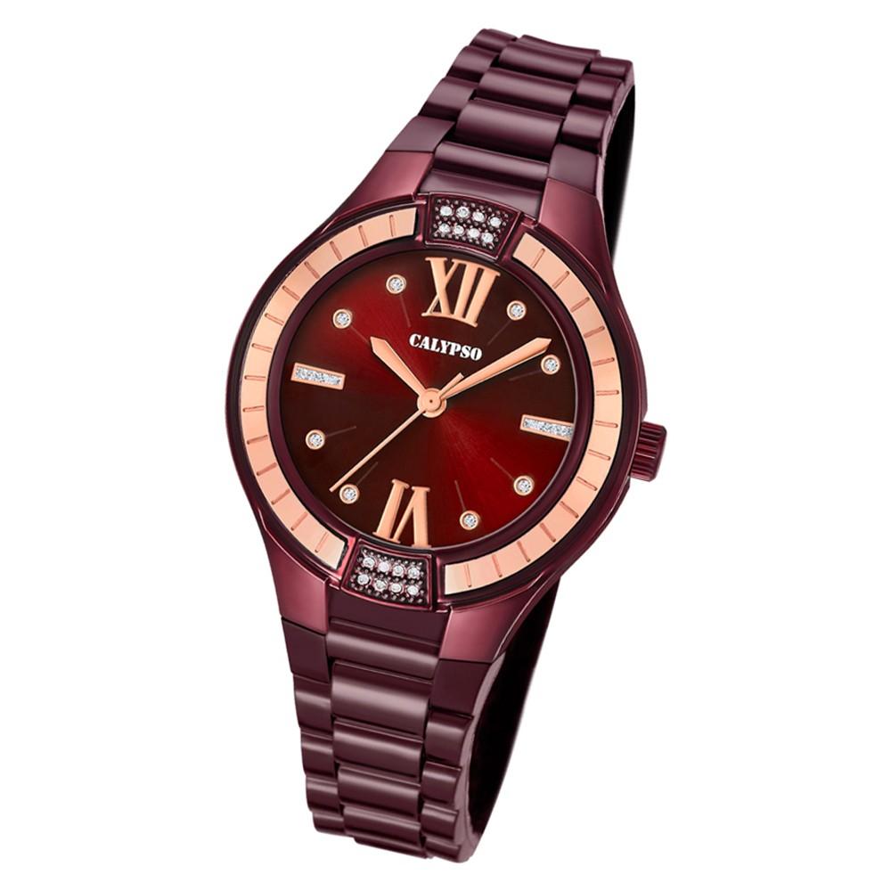Calypso Damen Armbanduhr Trendy K5720/5 Quarz-Uhr PU aubergine lila UK5720/5