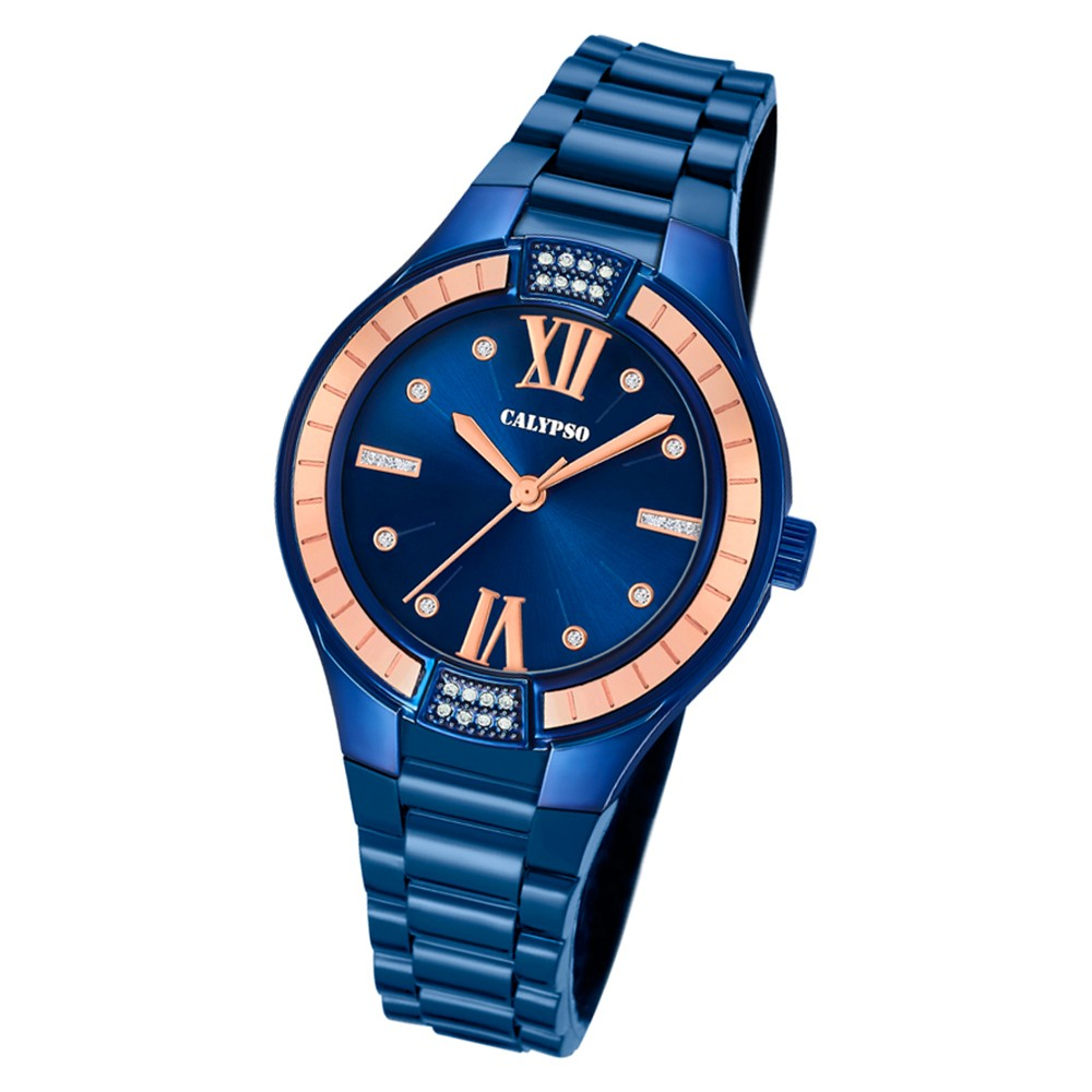 Calypso Damen Armbanduhr Trendy K5720/6 Quarz-Uhr PU blau UK5720/6