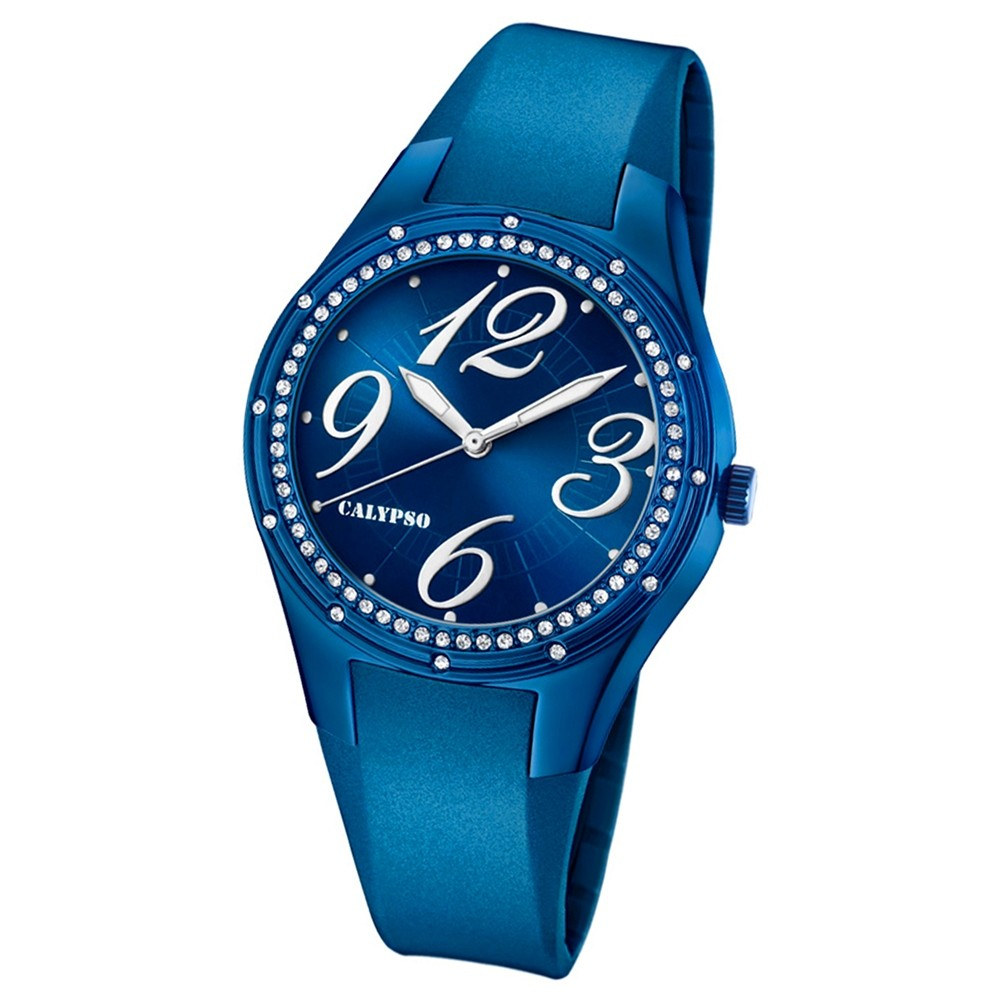 Calypso Armbanduhr Damen Trendy K5721/7 Quarzuhr PU blau UK5721/7