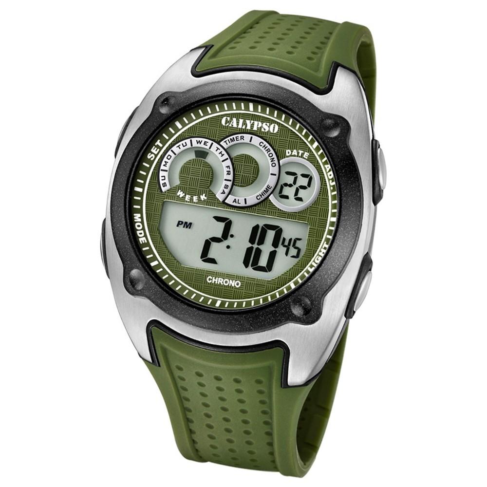 Calypso Armbanduhr Herren Digital for Man K5722/2 Quarzuhr PU grün UK5722/2