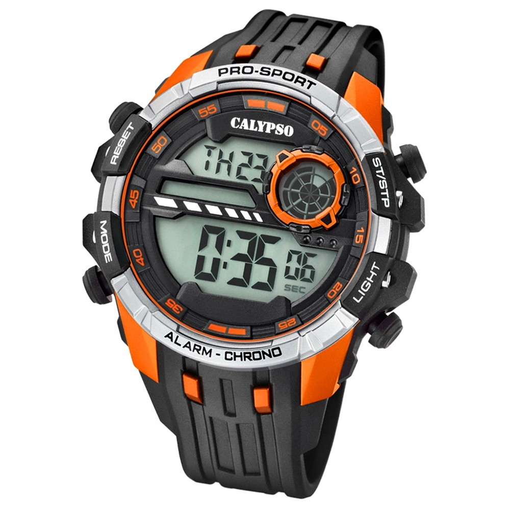 Calypso Armbanduhr Herren K5729/2 Quarzuhr PU schwarz orange UK5729/2