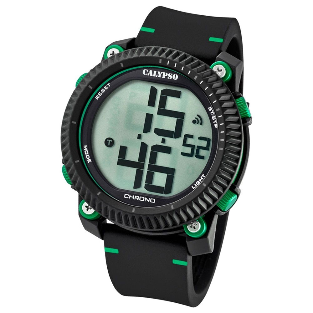 Calypso Armbanduhr Herren Digital for Man K5731/4 Quarz PU schwarz grün UK5731/4