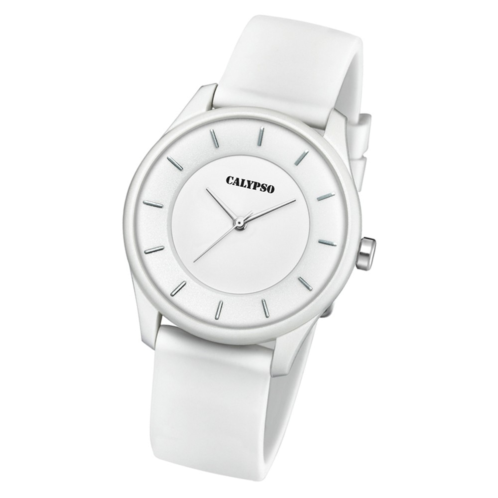 Calypso Damen Armbanduhr Sweet Time K5733/1 Quarz-Uhr PU weiß UK5733/1