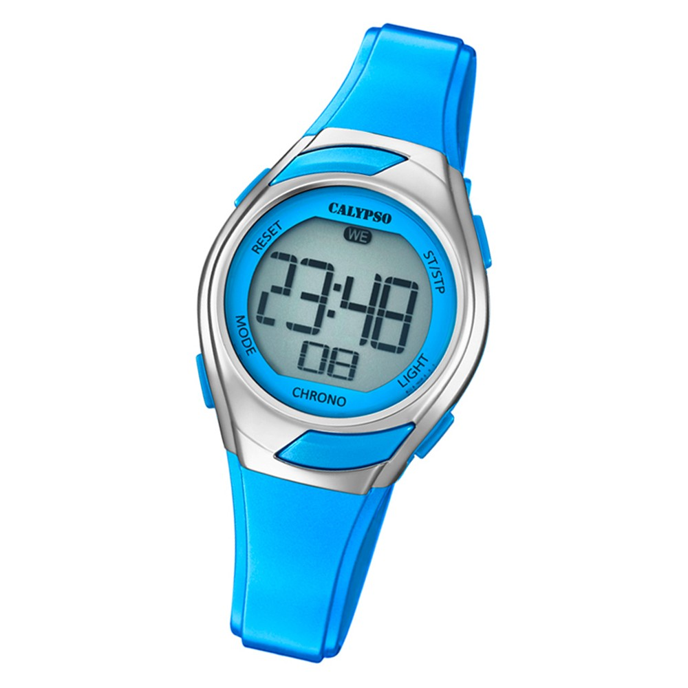 Calypso Kinder Armbanduhr Digital Crush K5738/3 Quarz PU hellblau UK5738/3
