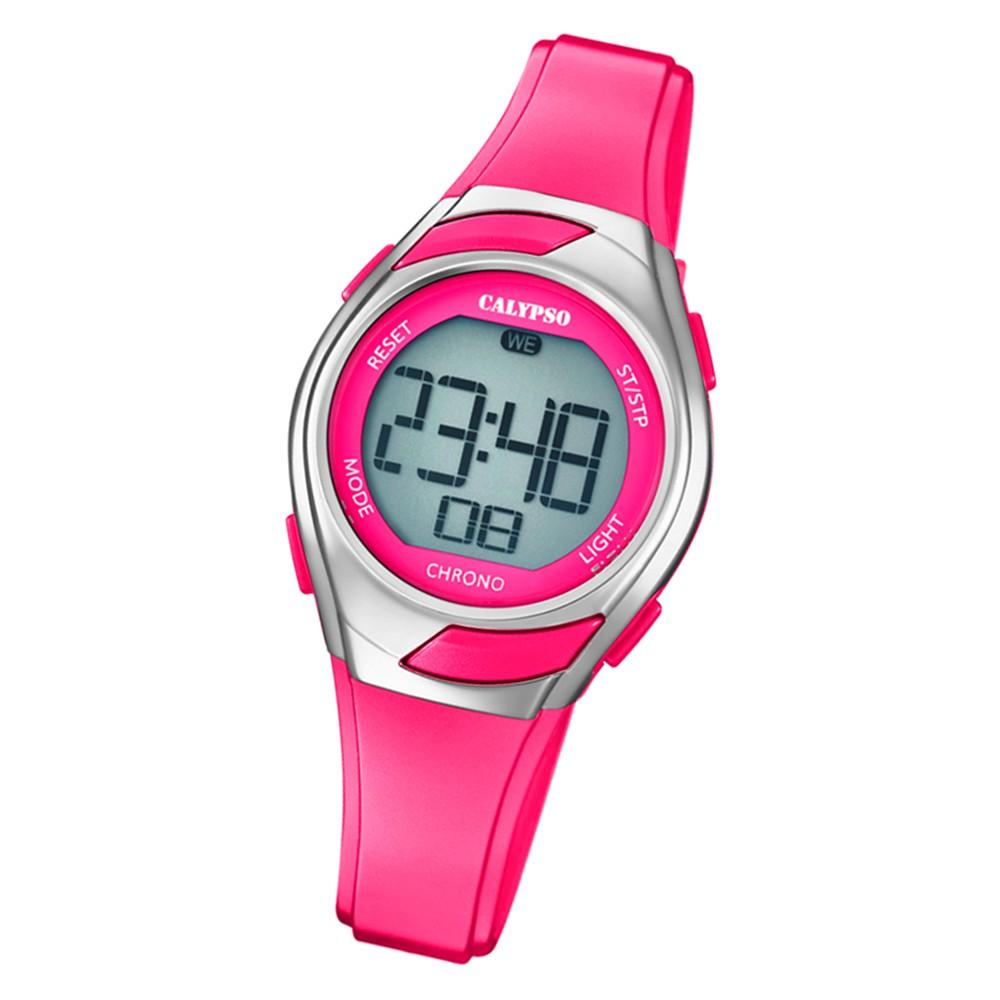 calypso kinder armbanduhr digital crush k5738 4 quarz uhr pu pink uk5738 4. Black Bedroom Furniture Sets. Home Design Ideas