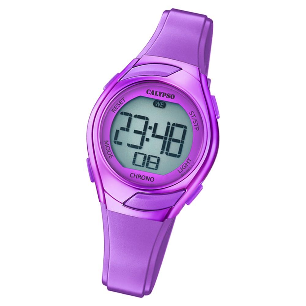 Calypso Kinder Armbanduhr Digital Crush K5738/7 Quarz-Uhr PU lila UK5738/7