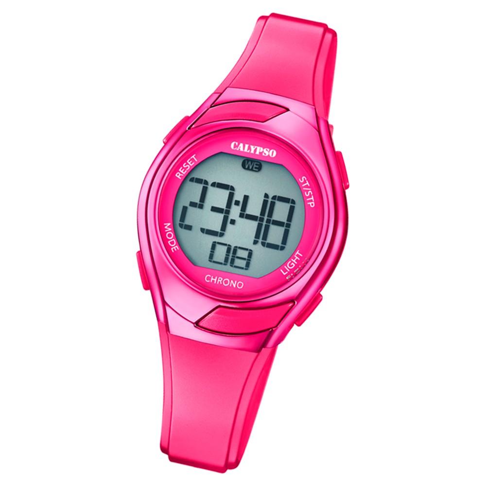 Calypso Kinder Armbanduhr Digital Crush K5738/8 Quarz-Uhr PU pink UK5738/8