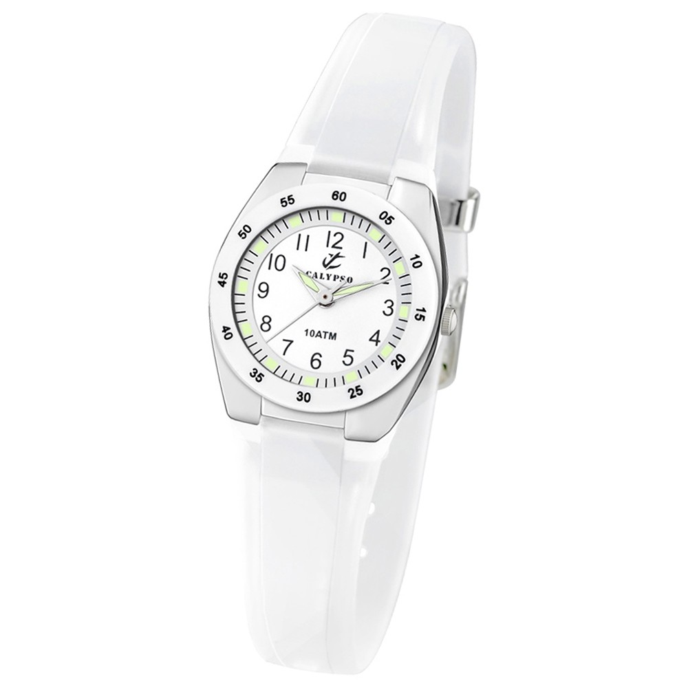 CALYPSO Damen-Armbanduhr Fashion analog Quarz-Uhr PU weiß UK6043/A