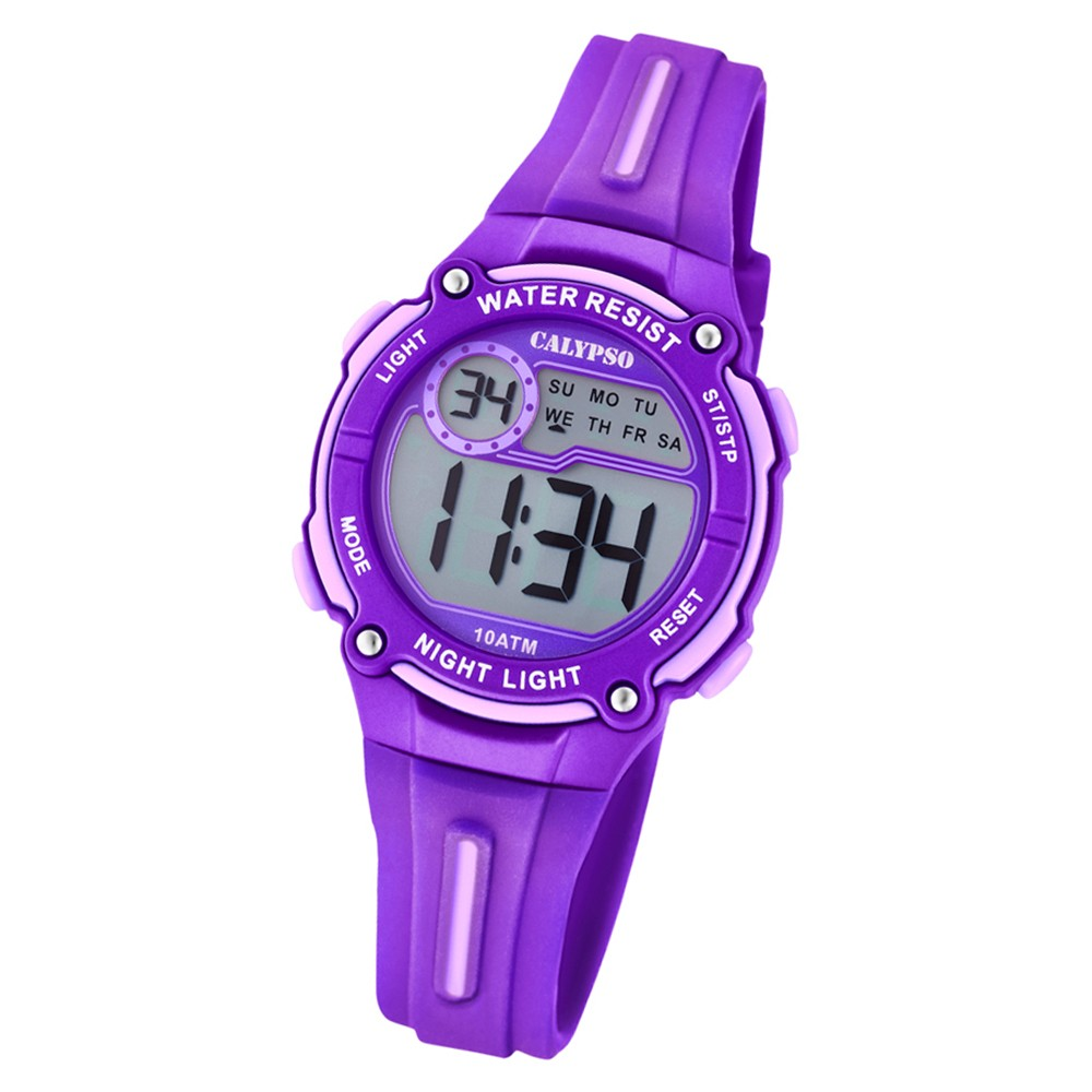 Calypso Kinder Armbanduhr Digital Crush K6068/2 Quarz-Uhr PU lila UK6068/2