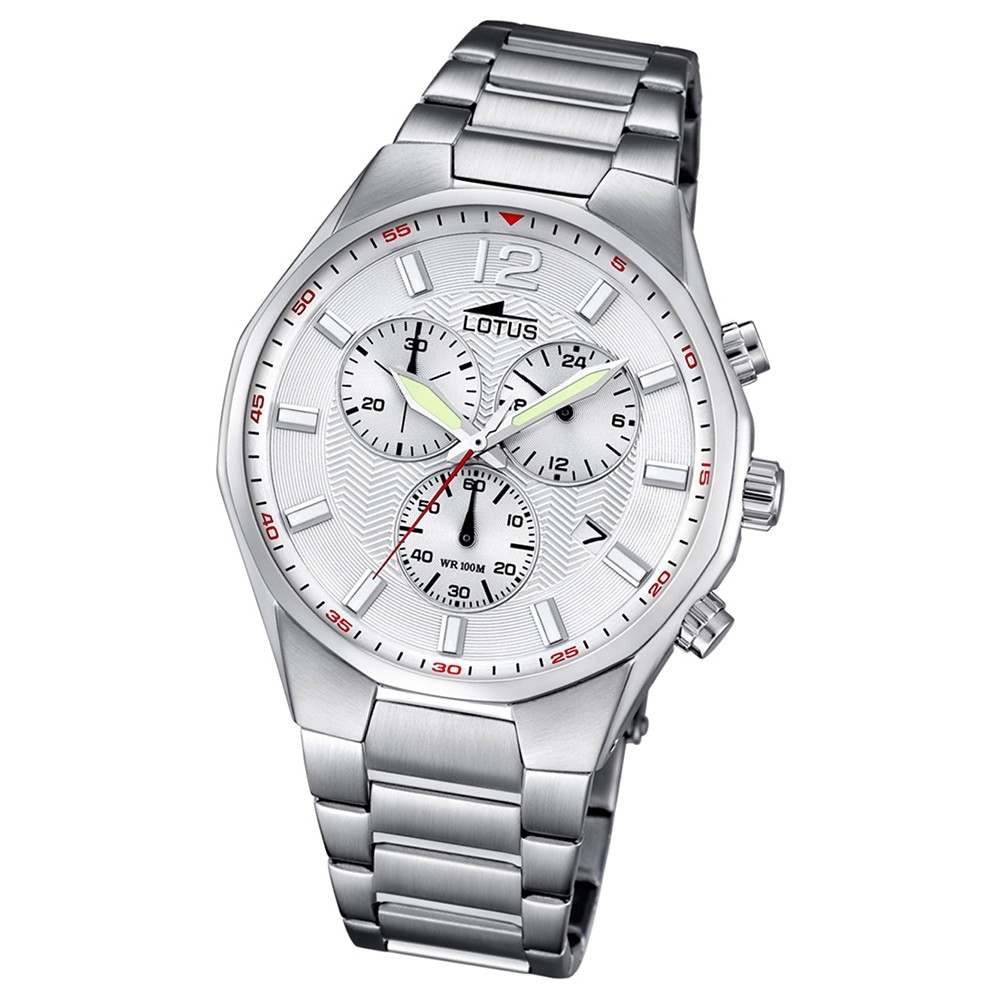 LOTUS Herren-Armbanduhr Chronograph Quarz Edelstahl silber UL10125/1