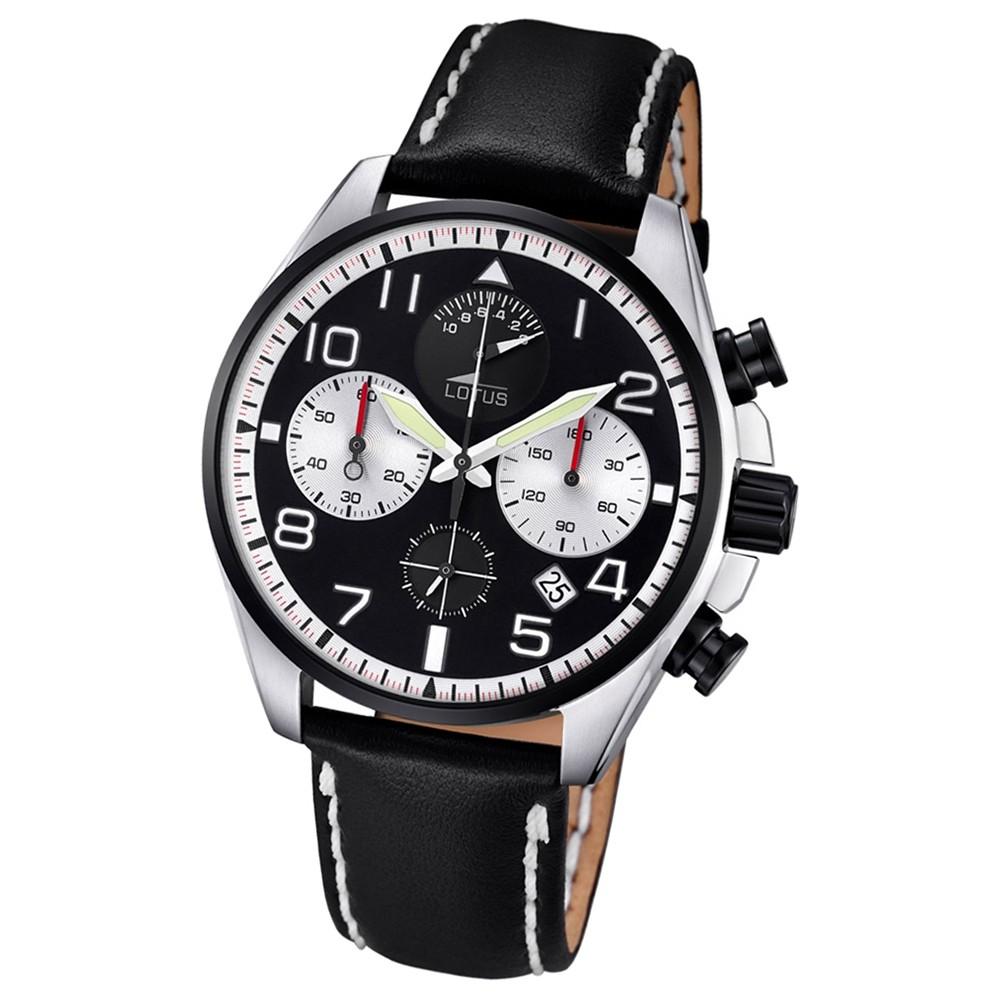 LOTUS Herren-Armbanduhr Khrono Chronograph Quarz-Uhr Leder schwarz UL10127/1