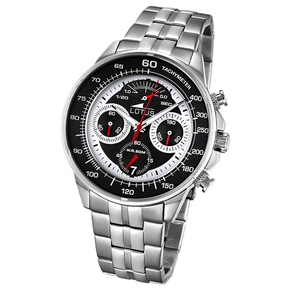 LOTUS Herren-Armbanduhr Khrono Chronograph Quarz-Uhr Edelstahl silber UL10129/2