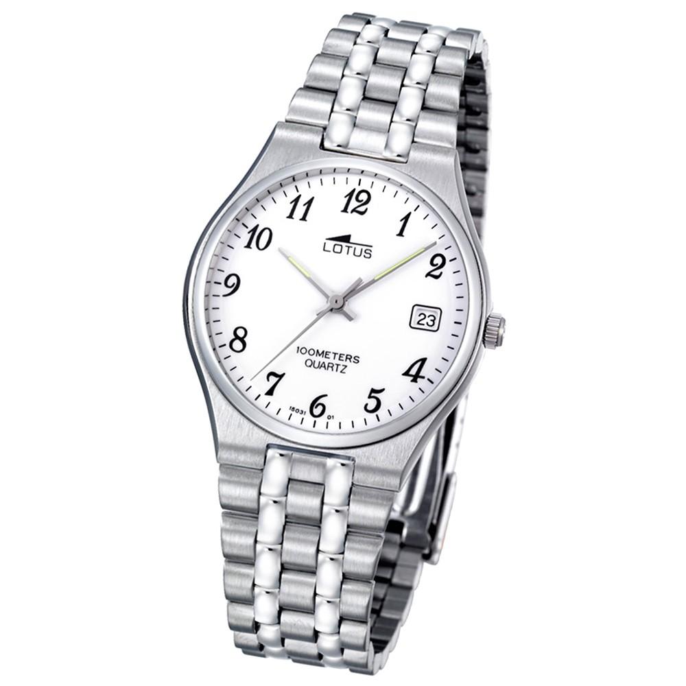 LOTUS Herrenuhr klassisch Analog Quarz Uhr Edelstahl Armband silber UL15031/1