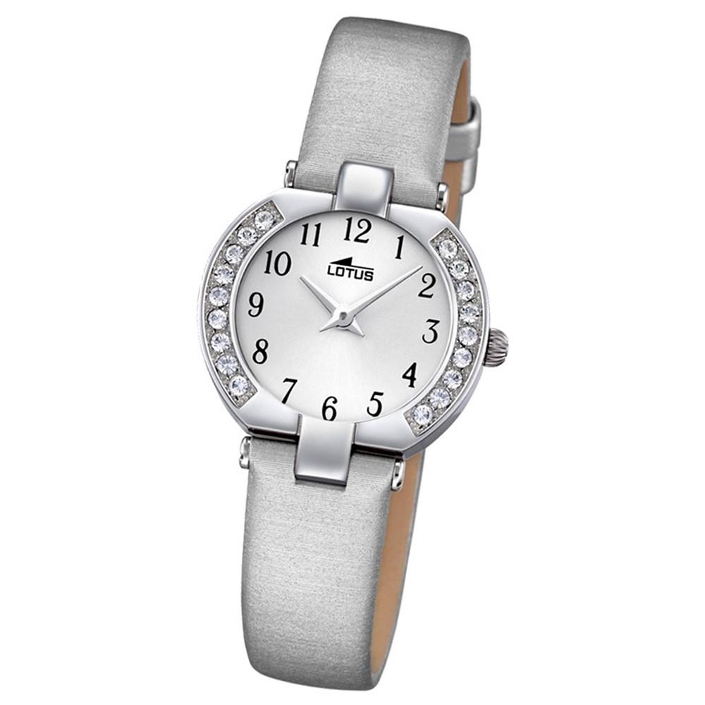 LOTUS Damen-Armbanduhr Junior Analog Quarz-Uhr Textil/Leder silbergrau UL15129/B