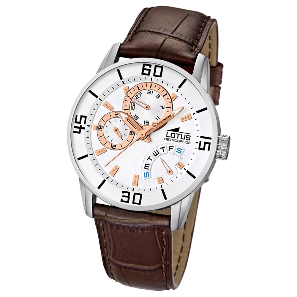 LOTUS Herrenuhr Multifunktion weiß mit Lederarmband braun Uhren UL15798/7